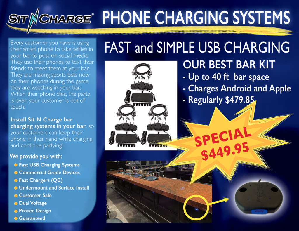SitnCharge Phone Charging Systems for Bars and Casinos
